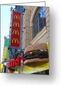 Ronald Greeting Cards - McDonalds Hamburger Restaurant . Fishermans Wharf . San Francisco California . 7D14249 Greeting Card by Wingsdomain Art and Photography