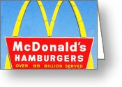 Vintage Signs Greeting Cards - McDonalds Hamburgers . Over 99 Billion Served Greeting Card by Wingsdomain Art and Photography