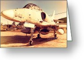 Old Postcards Greeting Cards - McDonnell Douglas TA-4J Skyhawk Aircraft Fighter Plane . 7D11198 Greeting Card by Wingsdomain Art and Photography