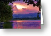 Sunset Posters Greeting Cards - McIntosh Lake Sunset Greeting Card by James Bo Insogna