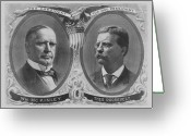 President Drawings Greeting Cards - McKinley and Roosevelt Election Poster Greeting Card by War Is Hell Store