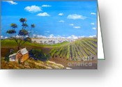 Pamela Meredith Greeting Cards - McLarren Vale Vine yards Greeting Card by Pamela  Meredith
