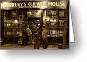House Tapestries Textiles Greeting Cards - McSorleys Old Ale House Greeting Card by Randy Aveille