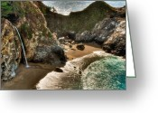 Peak One Greeting Cards - McWay Falls Hwy 1 California Greeting Card by Connie Cooper-Edwards
