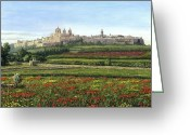 Rabat Painting Greeting Cards - Mdina Poppies Malta Greeting Card by Richard Harpum