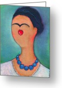 Little Girls98 Greeting Cards - Me and My Blue Pearl Necklace Greeting Card by Ricky Sencion