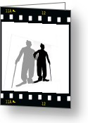 Bowler Hat Painting Greeting Cards - Me And My Shadow Greeting Card by Jann Paxton
