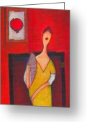 Modigliani Greeting Cards - Me My Fan and Portrait Greeting Card by Ricky Sencion