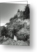 Bass Harbor Greeting Cards - ME0034 Bass Harbor Lighthouse Greeting Card by Steve Sturgill