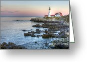 Portland Head Light Greeting Cards - ME0046 Portland Head Lighthouse Greeting Card by Steve Sturgill