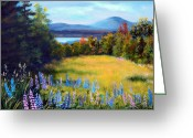Maine Painting Greeting Cards - Meadow Lupine II Greeting Card by Laura Tasheiko