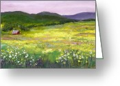 Grass Pastels Greeting Cards - Meadow of Flowers Greeting Card by David Patterson