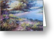 Lanscape Pastels Greeting Cards - Meadowlight Greeting Card by Bill Puglisi