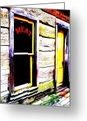 Cabin Window Greeting Cards - Meat Market Greeting Card by Ed Smith