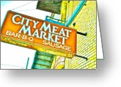 Meat Market Greeting Cards - Meat on the Market Greeting Card by Chuck Taylor