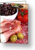 Sliced Greeting Cards - Meat platter  Greeting Card by Jane Rix