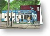 Gas Stations Greeting Cards - Mecanique Amical Inc. Pointe St. Charles Greeting Card by Reb Frost