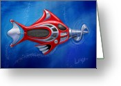 Featured Greeting Cards - Mechanical Fish 1 Screwy Greeting Card by David Kyte