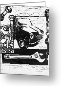 Mini Reliefs Greeting Cards - Mechanical Linoprint Greeting Card by Tom  Layland