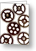 Circle Photo Greeting Cards - Mechanism Greeting Card by Bernard Jaubert