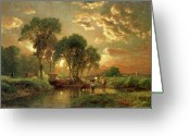 Evening Greeting Cards - Medfield Massachusetts Greeting Card by Inness
