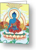 Mantrayana Greeting Cards - Medicine Buddha Greeting Card by Carmen Mensink