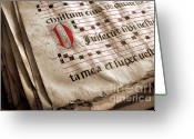 Sepia Greeting Cards - Medieval Choir Book Greeting Card by Carlos Caetano