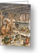 Feast Greeting Cards - Medieval Dining Hall Greeting Card by Granger