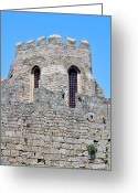 Rhodes Greece Greeting Cards - Medieval fortress of Rhodes. Greece. Greeting Card by Fernando Barozza