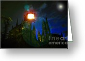 Spooky Moon Greeting Cards - Medieval Night Greeting Card by David Lee Thompson