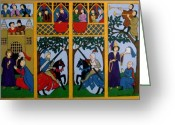 Knights Castle Painting Greeting Cards - Medieval Scene Greeting Card by Stephanie Moore