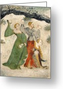 Bataille Greeting Cards - Medieval Snowball Fight Greeting Card by Maestro Venceslao