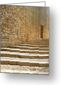 Brick Greeting Cards - Medieval Stone Steps With One Doorway At The Top. Greeting Card by Tracy Packer Photography