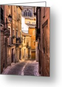 Toledo Greeting Cards - Medieval Street Greeting Card by Levin Rodriguez