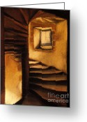Stone Pastels Greeting Cards - Medieval Tower Greeting Card by EMONA Art
