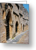 Rhodes Greece Greeting Cards - Medievil Town in Rhodes Greeting Card by Sandra Bronstein