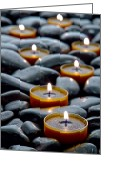 Glow Greeting Cards - Meditation Candles Greeting Card by Olivier Le Queinec
