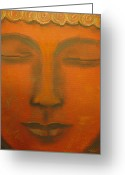Buddha Pastels Greeting Cards - Meditation Greeting Card by Cecilia Navarro