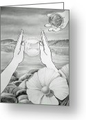 Glass Drawings Greeting Cards - Meditation  Greeting Card by Irina Sztukowski