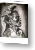 Native American Indians Drawings Greeting Cards - Meditation Native Greeting Card by Kathleen Douglass-Brock