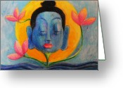 Buddha Pastels Greeting Cards - Meditation01 Greeting Card by Nafis Ahmed