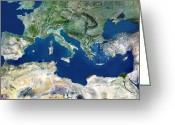 Arid Country Greeting Cards - Mediterranean Basin, Satellite Image Greeting Card by Planetobserver