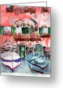 Actual Greeting Cards - Mediterranean Drydock Greeting Card by Arlene  Wright-Correll