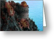 Terraces Greeting Cards - Mediterranean Turret Greeting Card by Bill Cannon and Pat Cannon