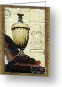 Old Wall Greeting Cards - Mediterranean Urn Greeting Card by AdSpice Studios