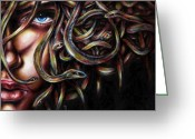 Face Greeting Cards - Medusa No. two Greeting Card by Hiroko Sakai