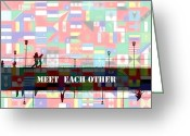 Other World Greeting Cards - Meet Each Other Greeting Card by Stefan Kuhn