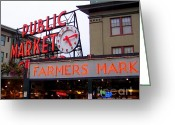 Market Greeting Cards - Meet Me in Seattle Greeting Card by Karen Wiles