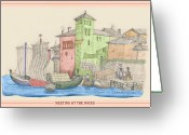 Meeting Drawings Greeting Cards - Meeting at the Docks Classic Greeting Card by Donna Munro