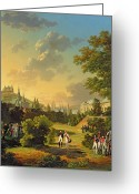 Napoleon Painting Greeting Cards - Meeting Between Napoleon I and Ferdinand III Greeting Card by Hippolyte Lecomte